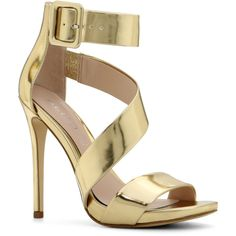 Sandals ($32) ❤ liked on Polyvore featuring shoes, sandals, heels, gold, gold sandals, heeled sandals, aldo shoes, open toe high heel sandals and platform sandals