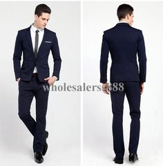 2015 New Style Dark One Button Navy Groom Tuxedos Best Man Groomsman Prom Suits Business Suit Jacket+Pants+TieFree Shiping Men Wedding Tuxedos Mens Tuxedos For Weddings From Wholesalerss888, $66.36| Dhgate.Com
