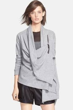 autumn cashmere Draped Front Zip Sweater Nickel
