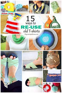 15 Ways to Reuse T-Shirts. I love the rug and the cute little t-shirt bracelets. You can create amazing pieces for your house or your wardrobe
