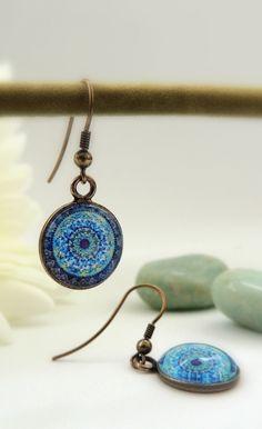 Healing Earrings MOON MANDALA Dangle Earrings Blue Mandala Earrings Drop Earrings Mandala Art Print Mandala Jewelry Healing Jewelry