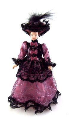 Poupée-Victorian assis Lady Résine 12TH Scale Maison de poupées Figure People