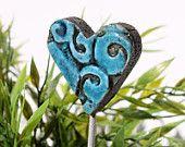 Heart garden stake - lawn ornament - garden decor - garden art - bouquet decoration - planter- flower bed - Deep Turquoise -1 Small