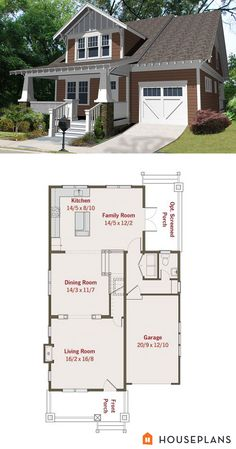 Craftsman bungalow plan. 2000 sft 3 bedroom 2.5 bath. Houseplans plan # 461-25