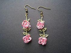 Best 12 crochet rose earrings More – SkillOfKing. Tatting Earrings, Tatting Jewelry, Lace Jewelry, Tatting Lace, Beaded Earrings, Handmade Jewelry, Rose Earrings, Needle Tatting Patterns, Crochet Patterns