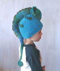 Kids Children Beanie Chameleon Hat Winter Spring Hat Crochet Hat Animal Hat Green Turquoise Blue Warm Unique Original For Boy For Girl OOAK - pinned by pin4etsy.com
