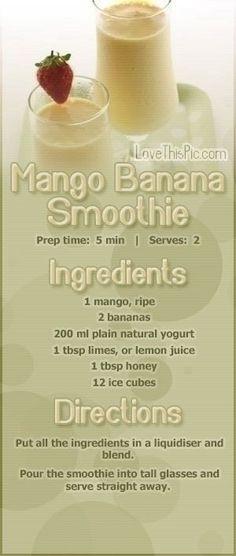 Mango Banana Smoothie Recipe smoothie recipe recipes easy recipes smoothie recipes smoothies smoothie recipe easy smoothie recipes smoothies healthy healthy recipes for weight loss Smoothies Banane, Mango Banana Smoothie, Smoothie Prep, Yummy Smoothies, Juice Smoothie, Smoothie Drinks, Yummy Drinks, Healthy Drinks, Healthy Eating