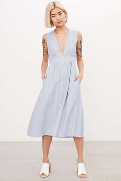 Where to buy plunging V-neck dresses for all styles   Kimchi Blue Plunging Button-Down Midi Dress, $79; at Urban Outfitters
