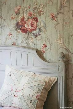 I LOVE this wall treatment! This is what I see: paneling painted over with freehand painting - gorgeous idea!