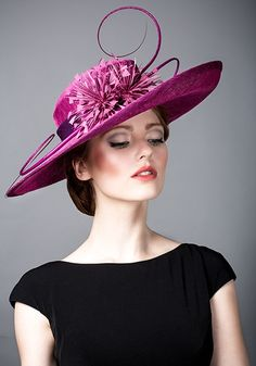 Rachel Trevor Morgan AW 2014 R14W15 - Deep pink sinamay straw hat with quills and feather flowers