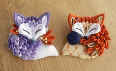 Tsumami zaiku brooch. Cute sleeping fabric fox. by MomoKanzashi
