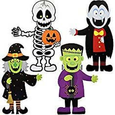 Halloween Decoration Hanging Wall Jointed Figures, Pack of 4 Signs Skeleton, Witch, Frankenstein, and Zombie Banners for Indoor and Outdoor Party Decor By Gift Boutique Cute Halloween Food, Halloween News, Halloween Signs, Halloween Masks, Vintage Halloween, Animated Halloween Decorations, Haunted House Decorations, Horror Halloween Costumes, Halloween Skeletons