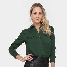 d228ae012a Camisa Aishty Manga Longa Bolsos Feminina - Verde escuro  CLIQUE EM VISITAR