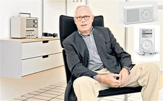 Designer Dieter Rams, pictured with a Braun radio on some Vitsoe units and (inset) a portable Braun radio he designed along with an original Jonathan Ive-designed iPod Dieter Rams, Word Design, Little Designs, Suit Jacket, Design Inspiration, Apple, Design History, Product Design, Industrial Design