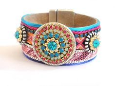 Studded friendship bracelet cuff in blue pink and orange - bohemian hippie bracelet - best friend jewelry - rhinestone cuff gypsy style. €95.00, via Etsy.
