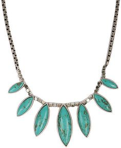 This Oxford Trunk Maca Horn necklace ($49) is begging to be worn with your slinky black maxi dress for dinner out.: Offset a white t-shirt or button-down with this Lucky Brand silver-tone faux turquoise collar necklace ($45).