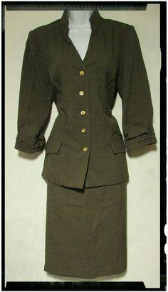 Sz 10 Jemma Olive Green Unlined Skirt Suit | eBay