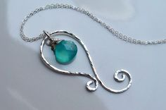 Hammered sterling silver and aqua chalcedony handmade necklace