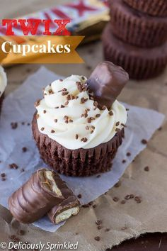 Twix Cupcakes with homemade caramel buttercream frosting!!