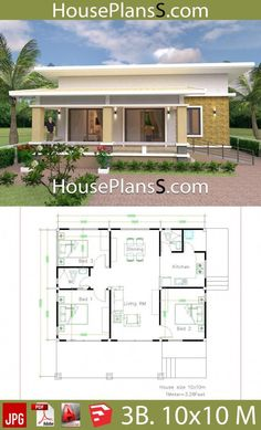 House Design Plans with 3 Bedrooms full interior - House Plans Sam Simple House Plans, Simple House Design, Dream House Plans, House Floor Plans, Dream Houses, House Design Pictures, Mekka, Bungalow House Design, Bedroom House Plans