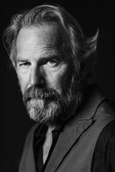 Kevin Costner - American actor, film director, producer, musician…// very nice portrait of Kevin with beard. Kevin Costner, Celebrity Photographers, Celebrity Portraits, Foto Portrait, Portrait Photography, Hollywood Actor, Hollywood Stars, Black And White Portraits, Famous Celebrities