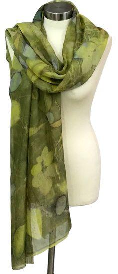 Green Silk Scarf, Eco Print, Silk Scarf, Hand Made Scarf, Soft Scarf, Woman Scarves, Handmade Women Scarves, Urban Scarf, Werable Art by rachelsilkscarves on Etsy