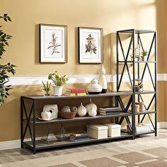 Walker Edison Furniture Company X-Frame Driftwood Wide Metal and Wood Media Bookshelf-HDS60XMWAG - The Home Depot