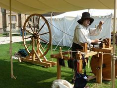 Great wheel Moxon lathe at Newstead Abbey. Sealed Knot re-enactment August 2013