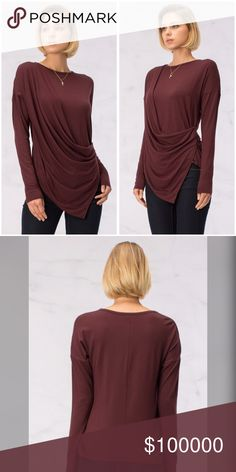 On the way! Burgundy pointed drape front top! Reorder! Creates an easy to wear - comfortable yet chic look with a twisted drape front and pointed hemline- beautiful Tops