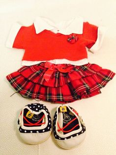 BUILD A BEAR OUTFIT Collared Shirt, Plaid Skirt, Polka Dot Shoes #AllOccasion