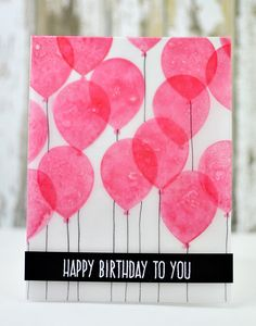 Birthday Greetings - Altenew balloons done :stamped on both sides of vellum, video on blog, birthday sketch