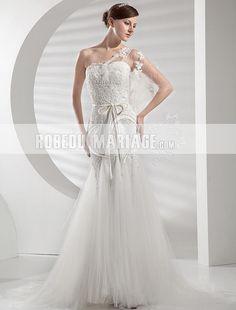 Romantique robe de mariée asymétrique appliques en satin et tulle [#ROBE206977] - robedumariage.com