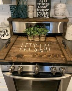 Farmhouse Kitchen Decor, Kitchen Redo, Home Decor Kitchen, Kitchen Remodel, Kitchen Design, Wooden Stove Top Covers, Stove Covers, Electric Stove Top Covers, Cheap Home Decor