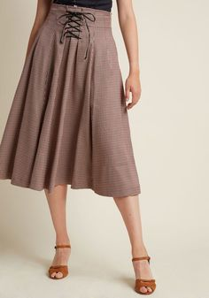 Woodland Wandering Lace-Up Midi Skirt in 10 - A-line Skirt by Alice's Pig from ModCloth
