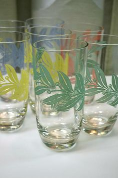 Vintage Tumblers / Highballs in Various Colours - Lot of 7