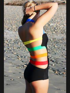 Rainbow Straps. One Piece. Low back. Black. Monikini. Modest swimsuit. Retro and Vintage style.