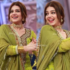 Beautiful Zara Noor Abbas in Reema Khan Ramazan Show Pakistani Formal Dresses, Pakistani Dress Design, Indian Dresses, Embroidery Suits Design, Embroidery Designs, Kurti Designs Party Wear, Lehenga Designs, Zara, Fashion Vocabulary