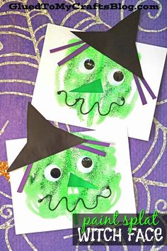 october crafts for kids Halloween is FAST approaching, so I want YOU to check out our post & create your own Paint Splat Witch Face pieces with your child today! Halloween Motto, Scary Halloween Crafts, Theme Halloween, Halloween Painting, Cute Halloween Costumes, Halloween Activities, Toddler Halloween Crafts, Halloween Makeup, Fall Crafts For Kids