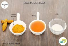 Things needed to make turmeric face mask for glowing skin #SkinTagsOnFace Skin Tags On Face, Face Mask For Spots, Turmeric Face Mask, Honey Face Mask, Homemade Face Masks, Homemade Skin Care, Chocolate Face Mask, Turmeric And Honey, Avocado Face Mask