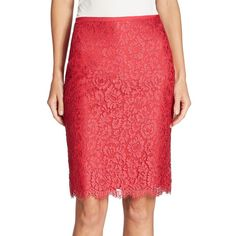 St. John Paisley Lace Skirt ($695) ❤ liked on Polyvore featuring skirts, knee length lace skirt, scalloped lace skirt, scalloped skirt, paisley skirts and red paisley skirt