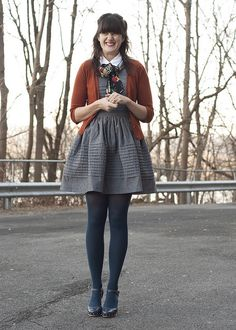 Love the colors in this outfit! And I think I have some navy tights that I've been neglecting.
