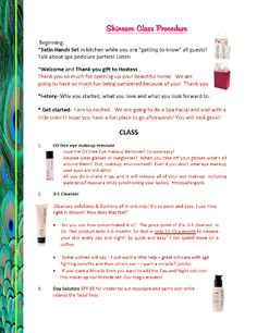 Skin Care Class outline
