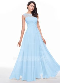 A-Line/Princess Scoop Neck Floor-Length Ruffle Beading Flower(s) Zipper Up Cap Straps Sleeveless No Champagne Spring Summer Fall General Plus Chiffon Prom Dress