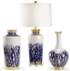 "Limited Production Design Limited Stock: 32"" Tall Elegant Blue & White Porcelain Botanical Art Table Lamp * Free Hand Artwork * Partner Vases Available"