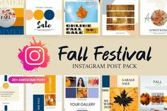 Autumn Fall Festival Instagram Post Template suitable for Business Promotions. $29 #sponsored #ad Insta post design | Small Business | Entrepreneur | Instagram Template