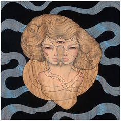 Wood Panel Paintings by Audrey Kawasaki - Japanese artist Audrey Kawasaki uses a variety of materials such as oil, ink and graphite to create these fantastic Art Nouveau-inspired paintings on wood. Audrey Kawasaki, Street Art, Spoke Art, Electronic Art, Fantastic Art, Awesome Art, Japanese Artists, Erotic Art, Wood Paneling