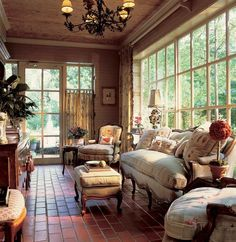 Perfect French country shabby chic living room with huge windows