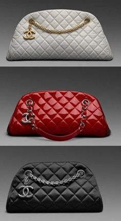 Chanel mademoiselle bags... Chanel Mademoiselle bag is the perfect cross between the classic flap and a tote. It includes double chain handle that can be worn as a shoulder bag, extended in a cross-body style, or handled like a tote on your arm. This style comes in various sizes