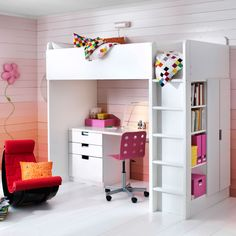 A kids' bedroom with STUVA all-in-one bed, desk and storage in white