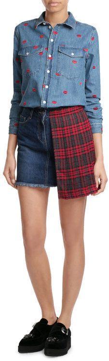 Sjyp Denim Skirt with Pleated Tartan Panel